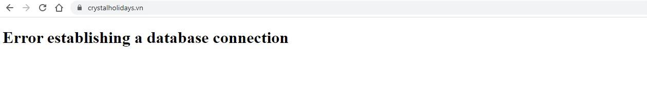Website crystalholidays.vn bị lỗi