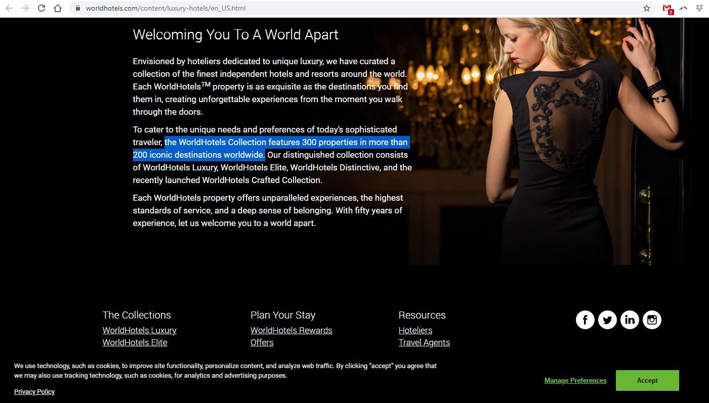 Thông tin trên website worldhotels.com